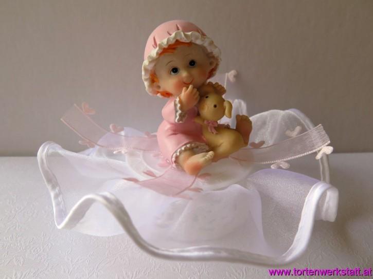 FI JC Baby auf Spitzensockel im Nachthemd rosa