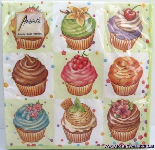 BS AM Servietten Cupcake square green