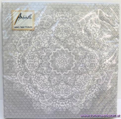 BS AM Servietten Lace Flower silver