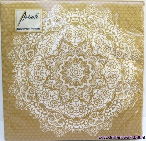 BS AM Servietten Lace Flower gold