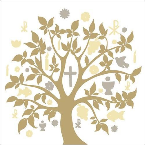 SE AM Servietten Glaube/Baum Symbols creme/gold