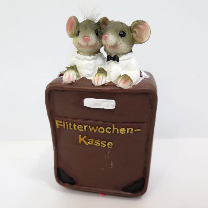 "FI US Spardose Mäuse auf Koffer ""Flitterwochen"""