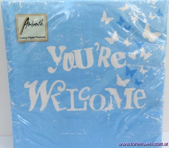 BS AM Servietten You`re welcome blue