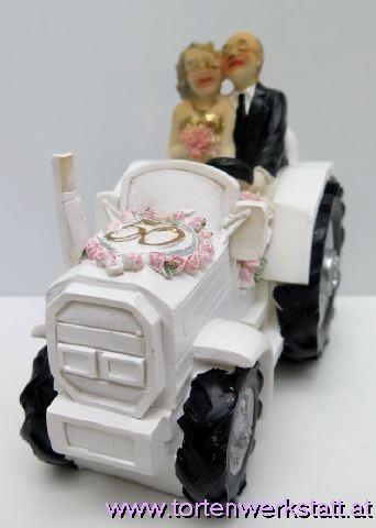"FI US Goldpaar auf weißem Traktor ""50"""