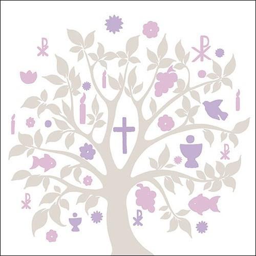 SE AM Servietten Glaube/Baum Symbole taupe/violett