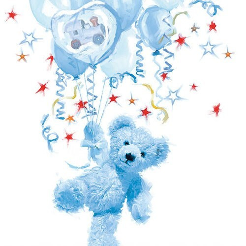 BS AM Servietten Baby Teddy blue