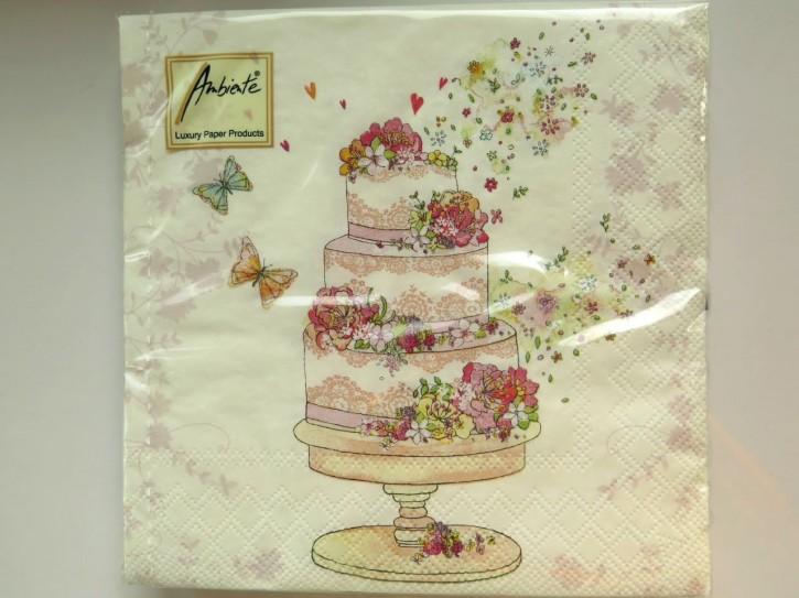 BS AM Servietten Flowered Wedding cake