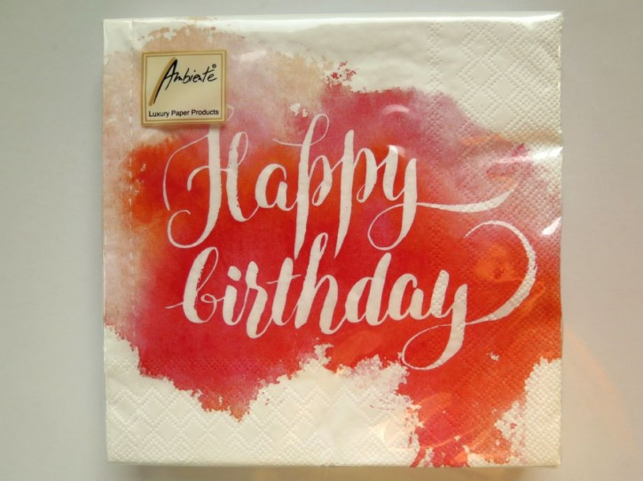BS AM Servietten Birthday Aquarell Red