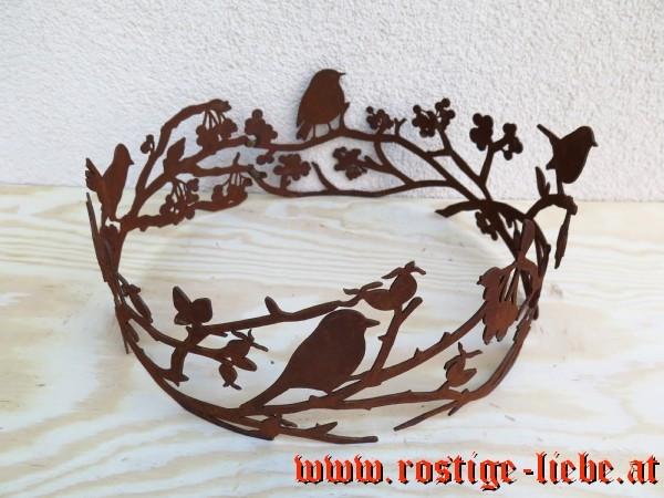 RL SR Edelrost Deko Ring Vögel mit Ästen und Beeren