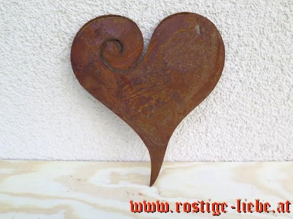 RL SR Edelrost Herz zum Einhängen 18cm