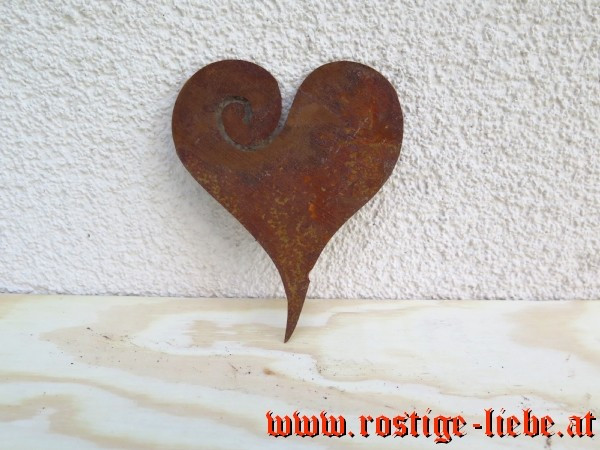 RL SR Edelrost Herz zum Einhängen 12cm