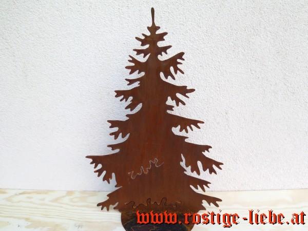 Rostiger Tannenbaum.Rl Sr Edelrost Deko Tannenbaum B 55cm Auf Platte