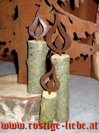 RL HL Flamme auf Birken-/Holzstamm 35cm