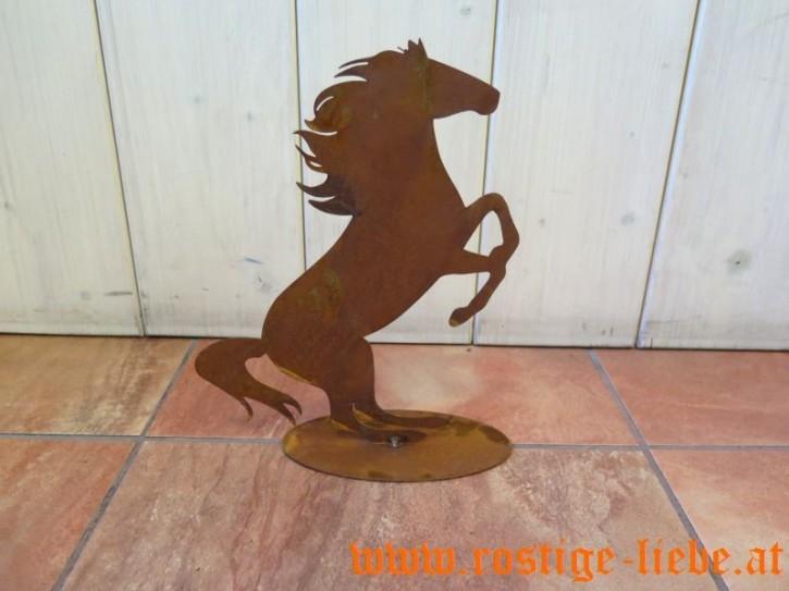 RL AS Edelrost Deko Pferd auf Bodenplatte
