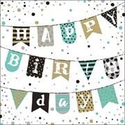BS AM Servietten Birthday Garland Green