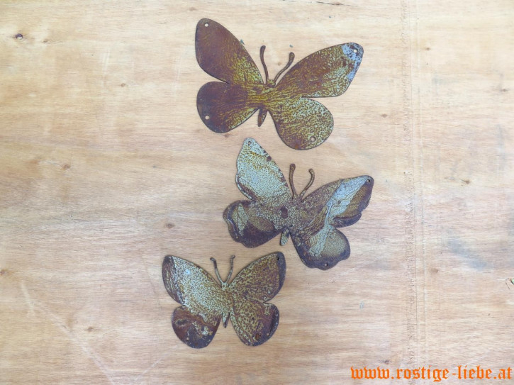 RL SR Edelrost Deko Schmetterlinge 3er Set