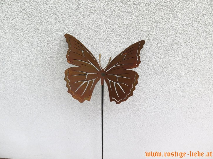 RL SR Edelrost Deko Stecker Schmetterling mit Ausschnitten