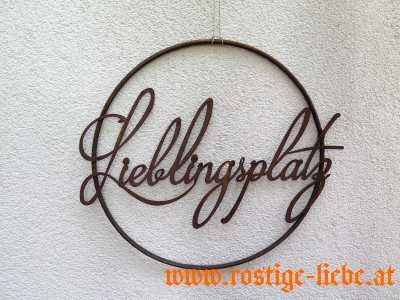 """RL SR Edelrost Ring mit Wort """"Lieblingsplatz"""""""