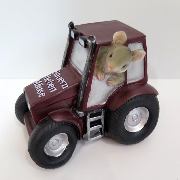 Spardose Mäuse-Traktor braun