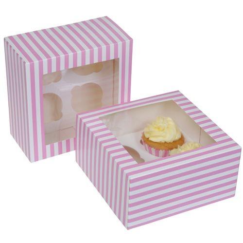 Cupcake Box for 4 pink Pkg/2
