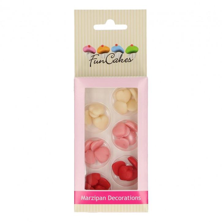 Marzipan Dekoration Herzen weiß/rosa/rot 20g